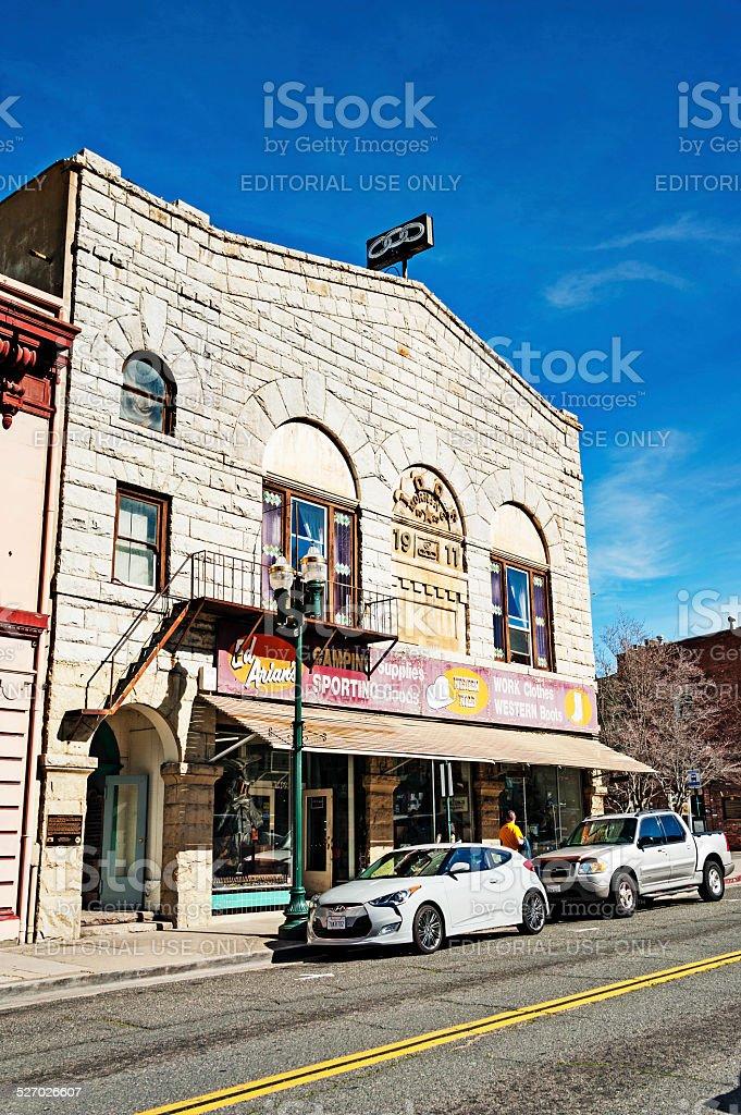 Old Hangtown downtown Odd Fellows Hall stock photo