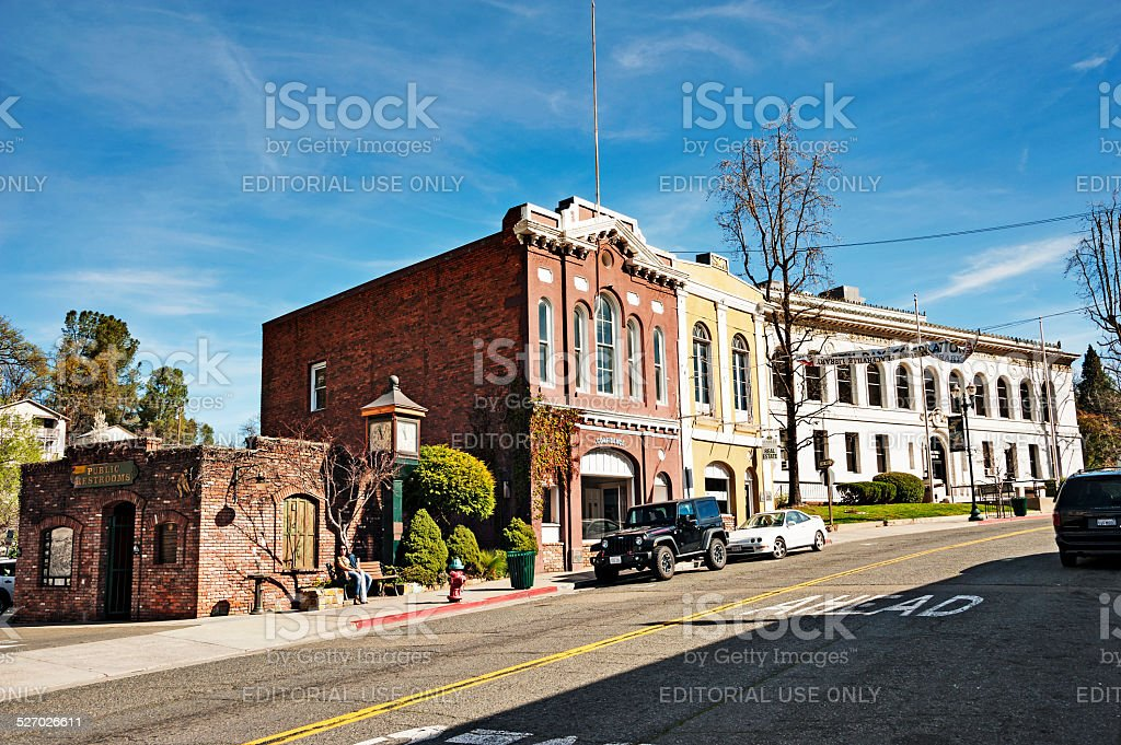 Old Hangtown downtown older buildings and courthouse stock photo