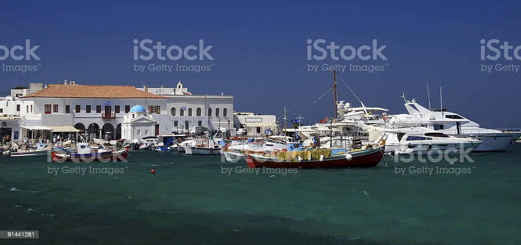 Old harbor of Mykonos, Greece royalty-free stock photo
