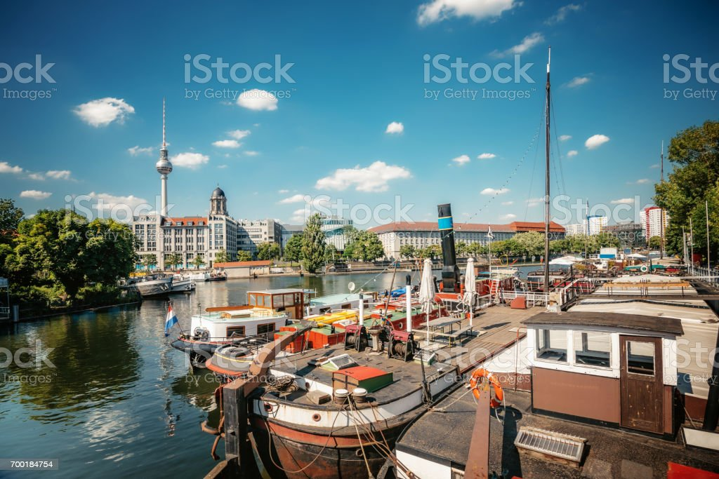 old harbor with boats at Fischerinsel in Berlin stock photo