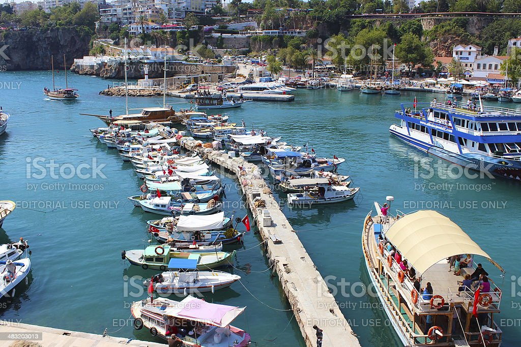 Old harbour Antalya stock photo