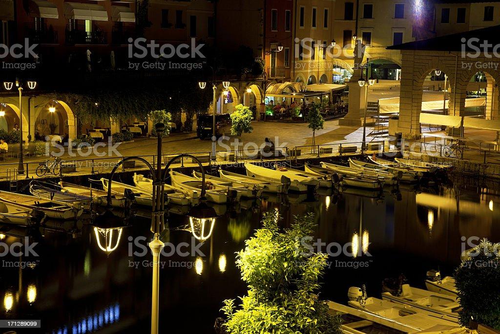 Old Harbour Desenzano Del Garda at Night, Italy royalty-free stock photo