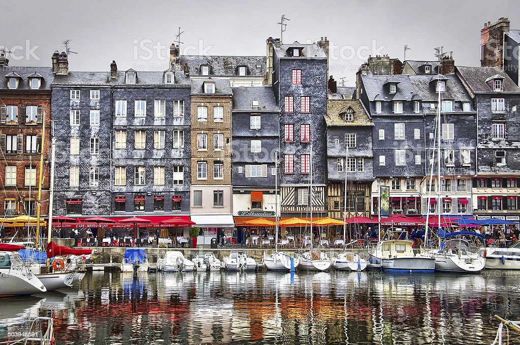 Old harbour of Honfleur, Normandy, France stock photo