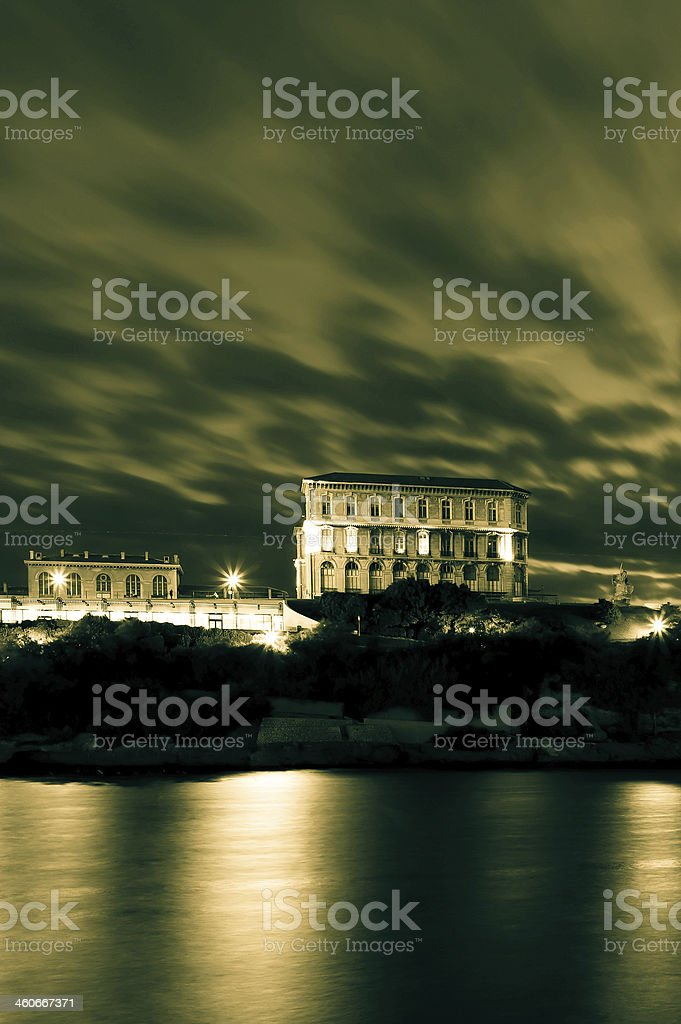 old harbour of Marseille by sunset royalty-free stock photo