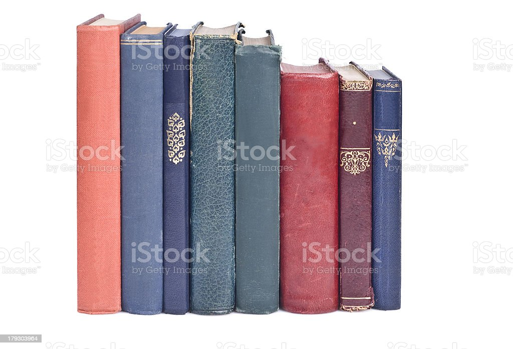 Old hard cover books stock photo