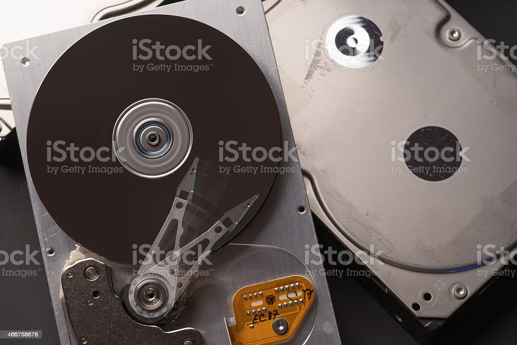 Old hard drives stock photo
