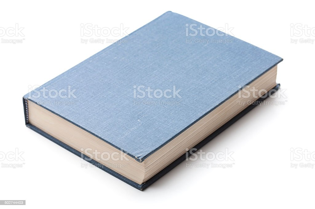 Old Hardback Book with Blank Blue Cover royalty-free stock photo