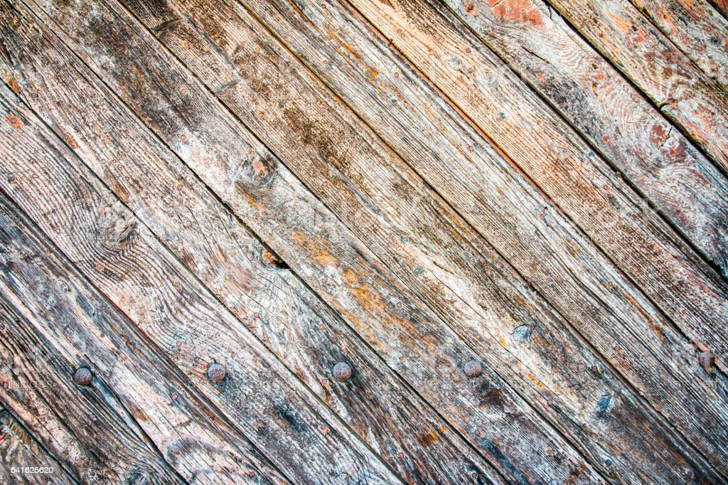 Old hardwood floor wooden plank weathered texture in a row stock photo