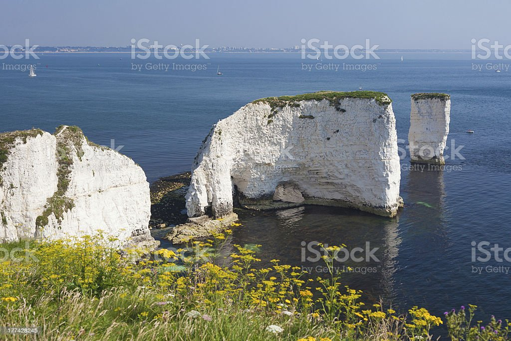 Old Harry Rocks and Bournemouth stock photo