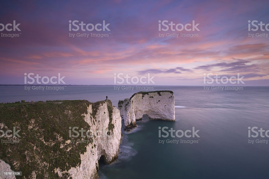 Old Harry rocks at dawn. stock photo