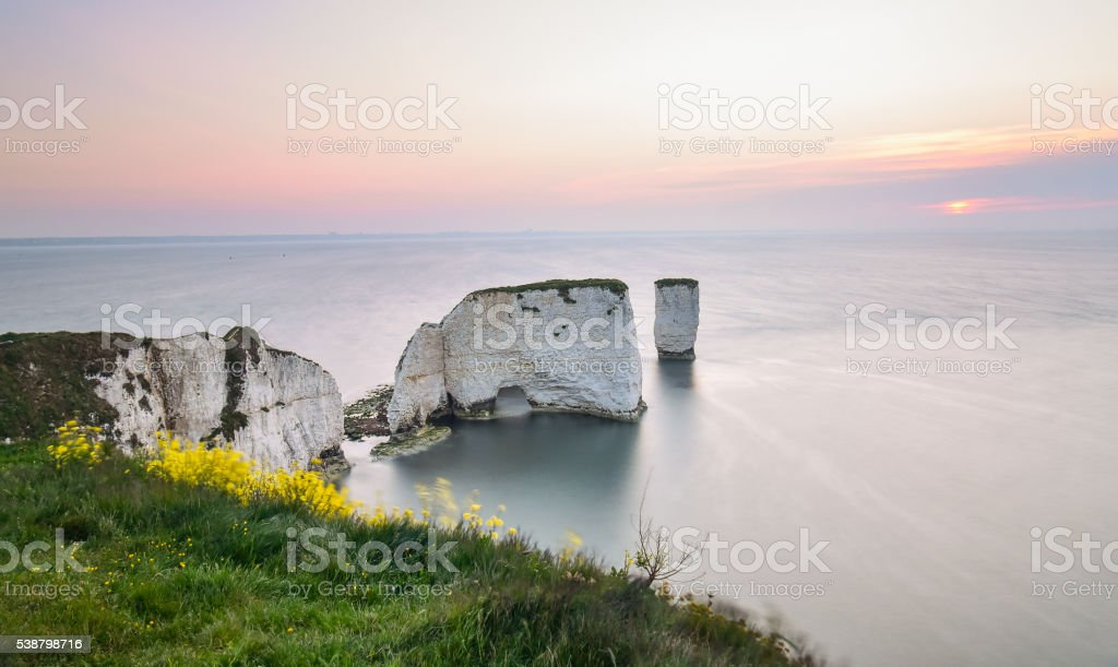 Old Harry Rocks early morning stock photo