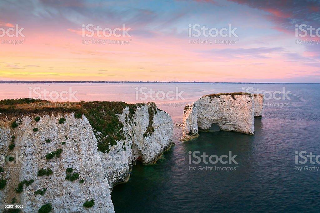 Old Harry Rocks in Dorset. stock photo
