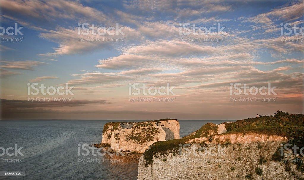 Old Harry Rocks Jurassic Coast UNESCO Dorset England at sunset stock photo