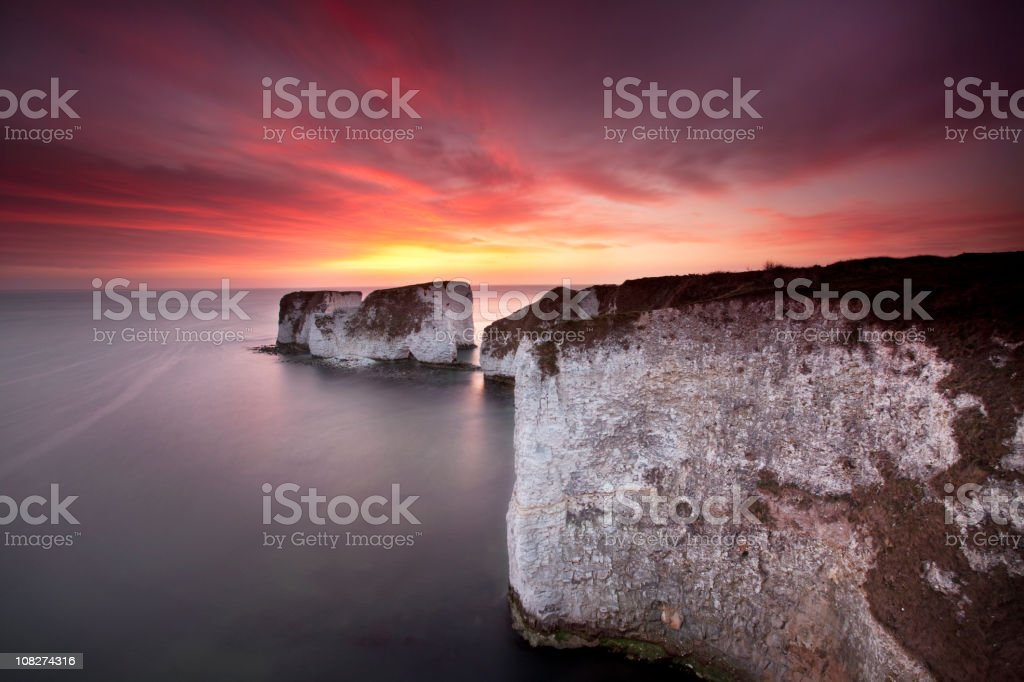 Old Harry Rocks sunrise stock photo