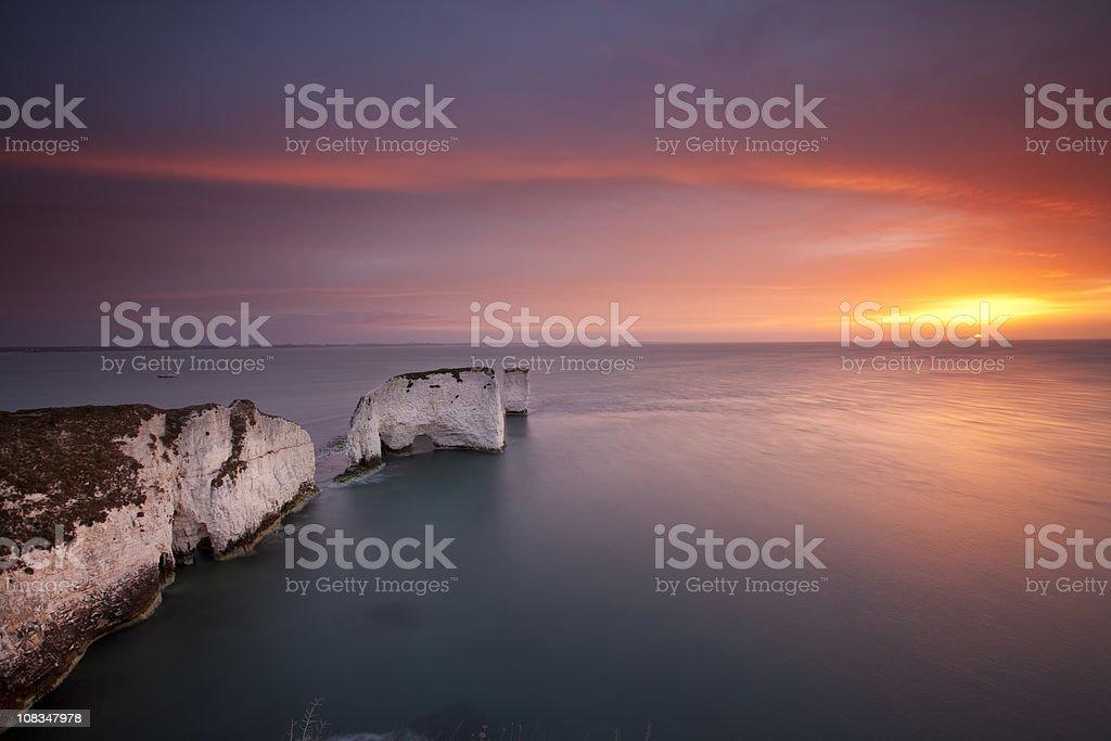 Old Harry Rocks, Sunrise. stock photo