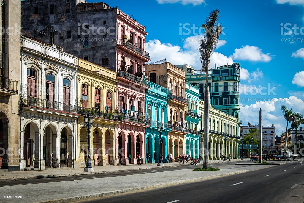 Old Havana downtown Street - Havana, Cuba stock photo