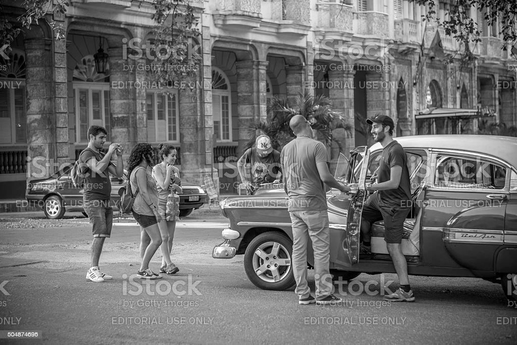 Old Havana street hustle stock photo