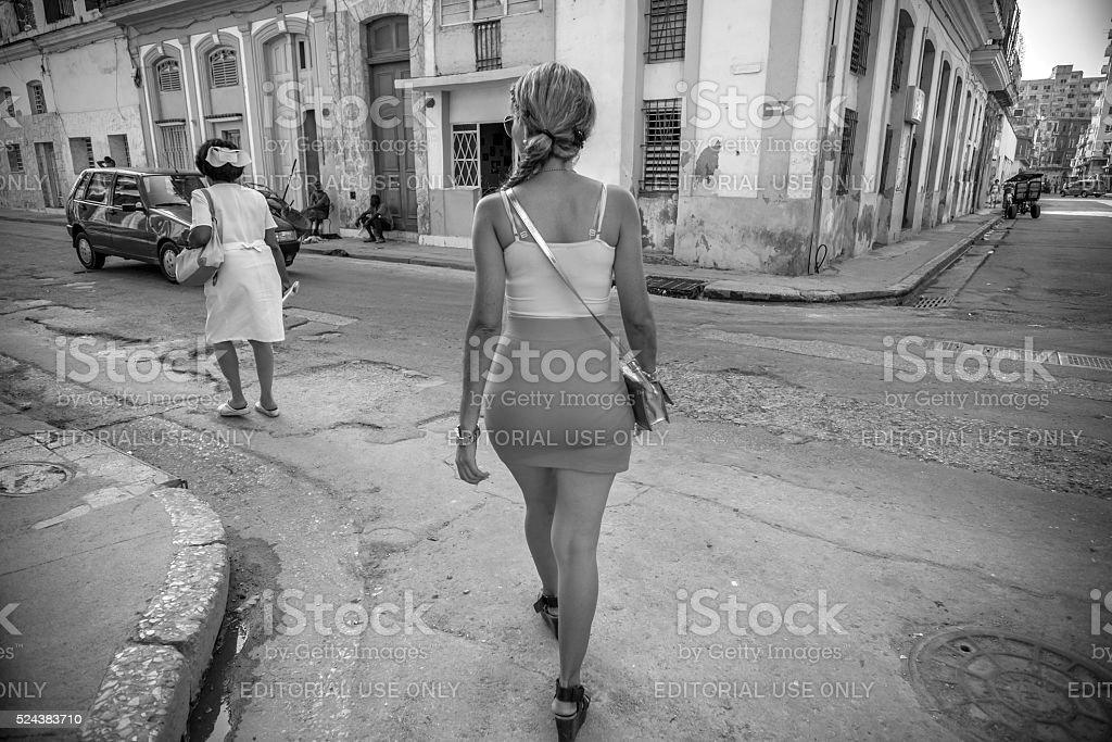 Old Havana Street scene stock photo