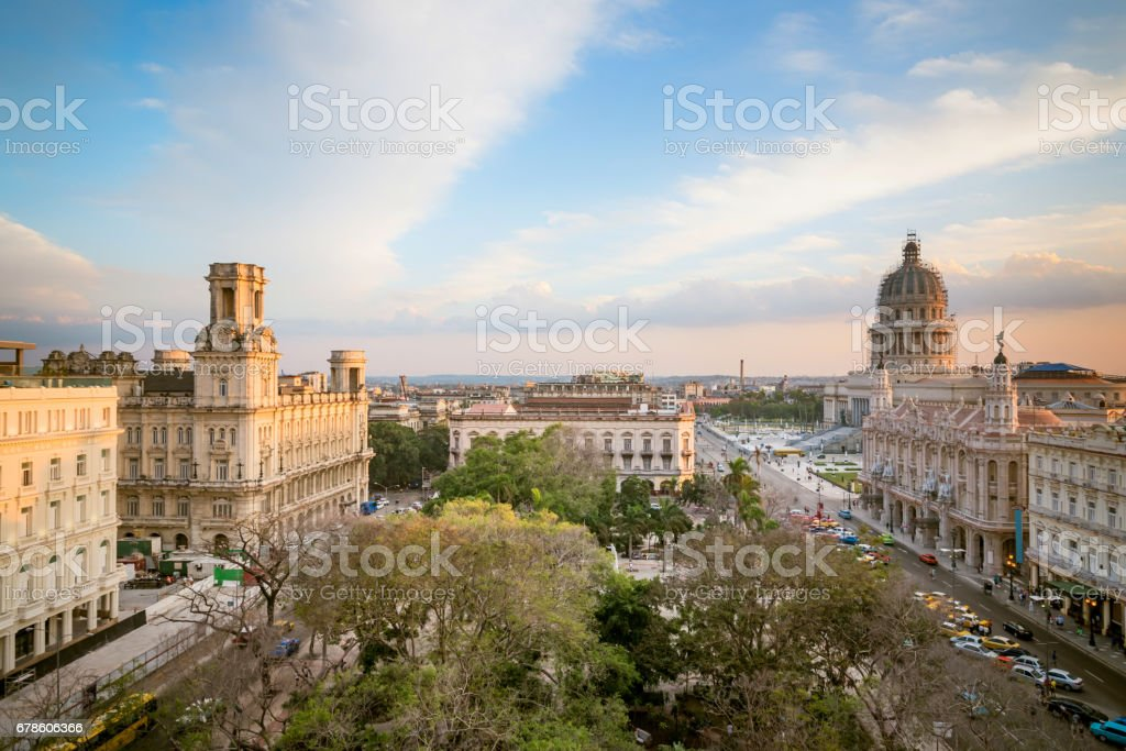 old Havanna citscape with Capitol and Theatre at sunset hour stock photo