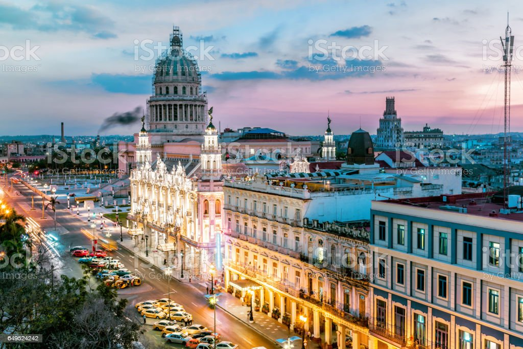 old Havanna citscape with Capitol at blue hour stock photo