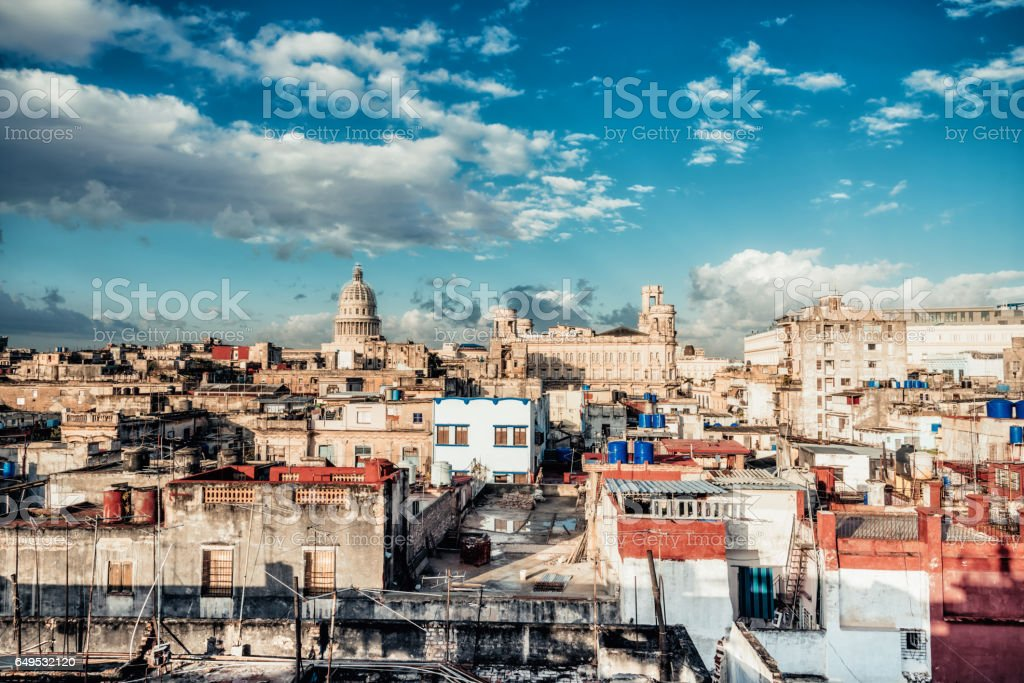 old Havanna citscape with Capitol at sunrise stock photo