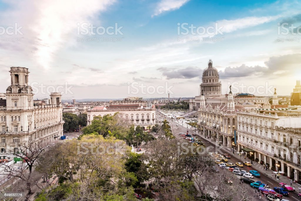 old Havanna citscape with Capitol at sunset hour stock photo