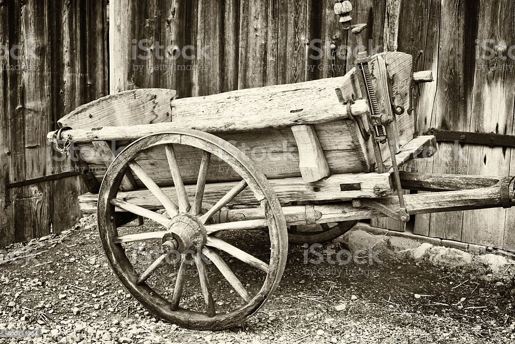 old hay cart stock photo