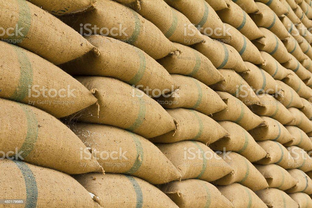 Old hemp sacks stock photo