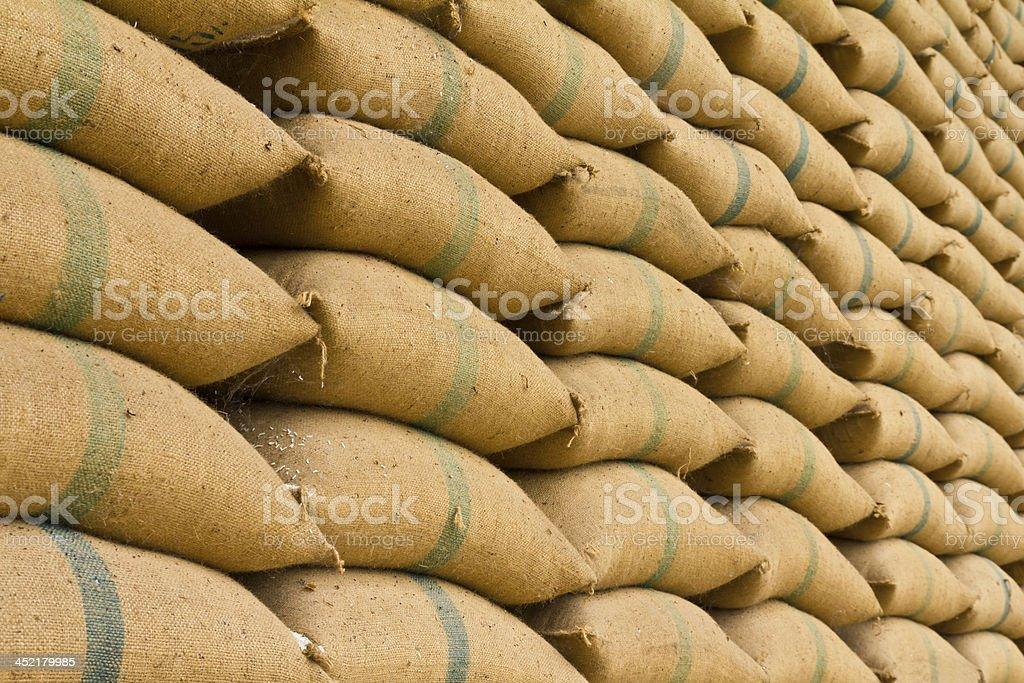 Old hemp sacks stock photo