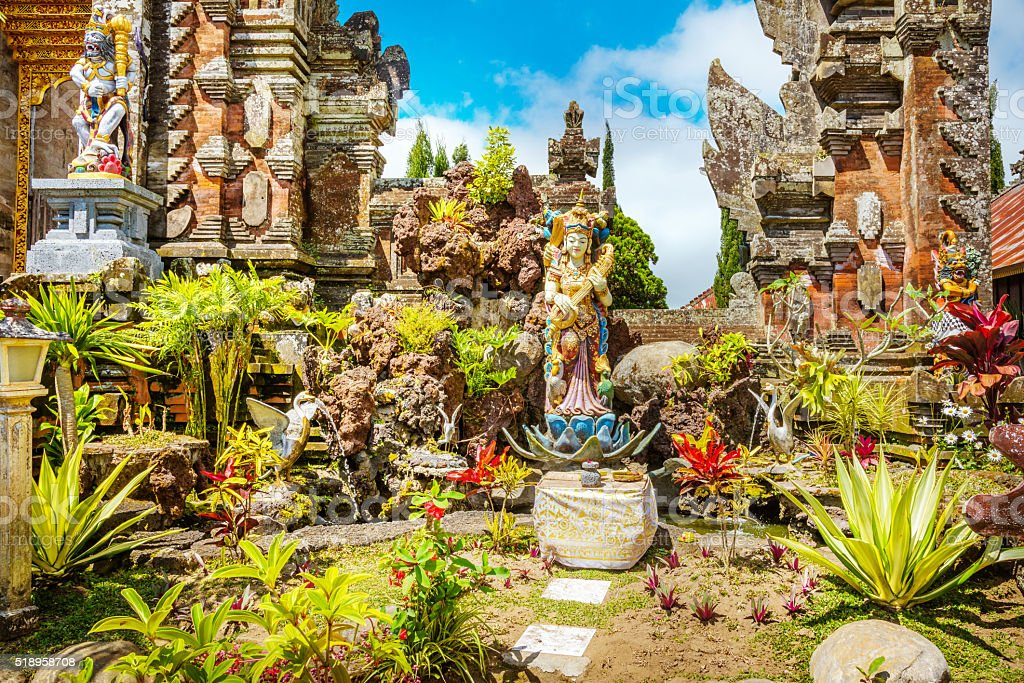 old hindu temple architecture on Bali, Indonesia stock photo