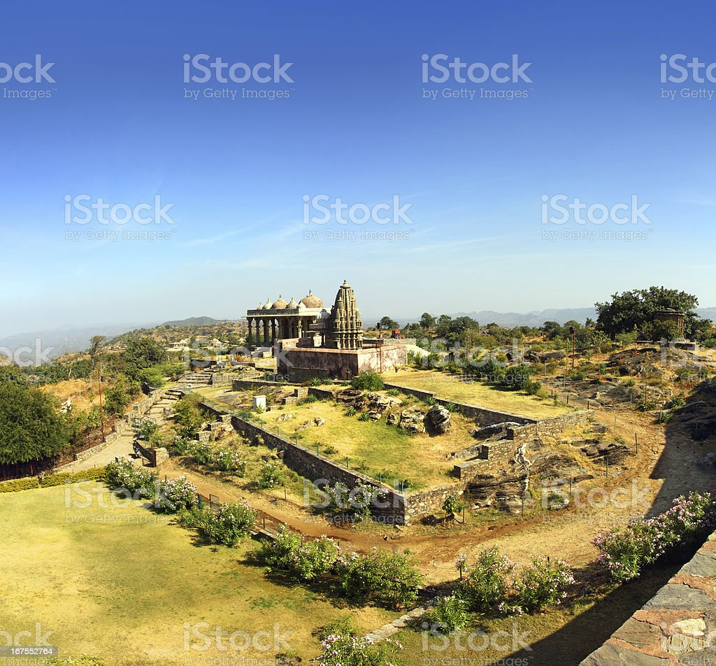 old hinduism temple in kumbhalgarh fort stock photo