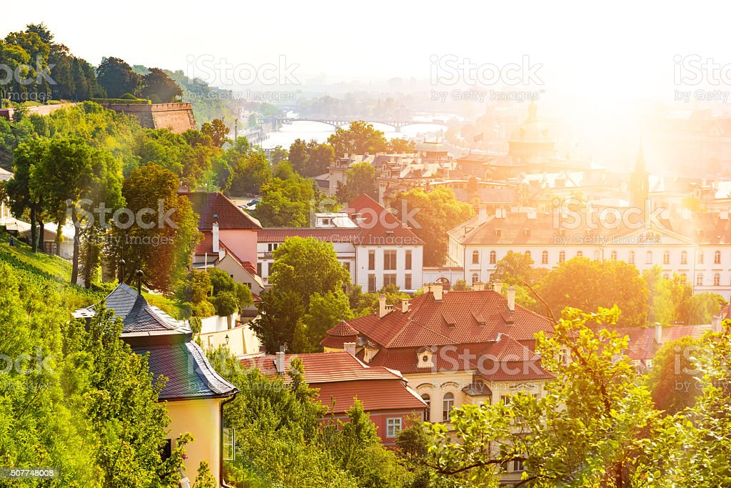 Old historic buildings in Prague stock photo