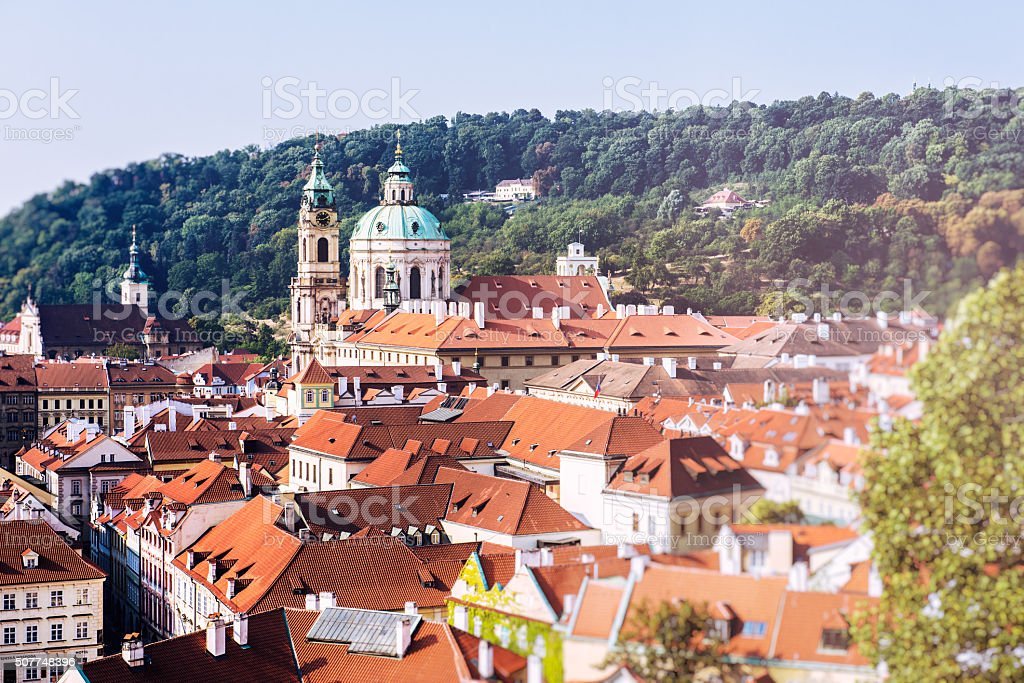Old historic buildings in Prague, view from the castle teracce stock photo