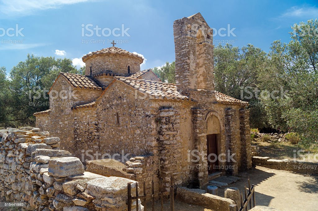 Old historic church at Crete island in Greece stock photo