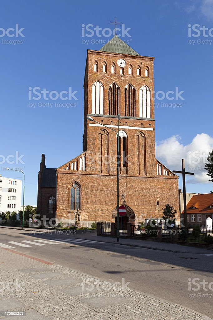 Old historic church in Swidwin stock photo