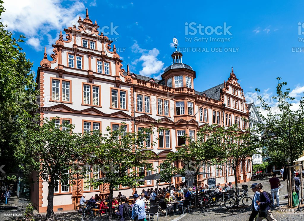 Old Historic Gutenberg Museum with blue sky in Mainz stock photo
