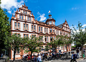 Old Historic Gutenberg Museum with blue sky in Mainz
