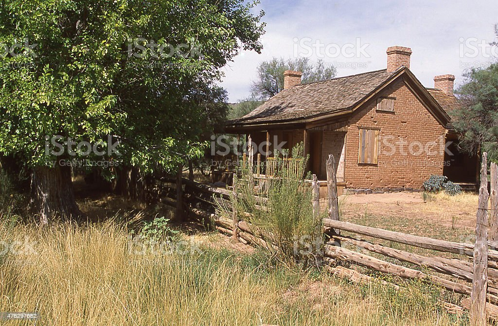 Old Historic House Grafton Ghost Town near Rockville Utah stock photo