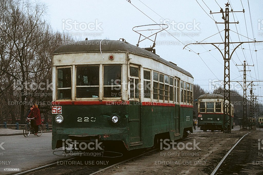 Old historic trams in Changchun, China stock photo