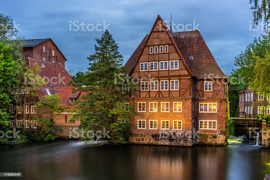 Old historic watermill in Luneburg stock photo