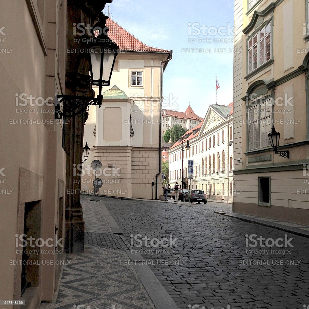 Old, historical and empty street in old town of Prague stock photo