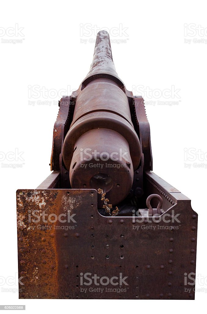Old Historical Cannon On White Background stock photo
