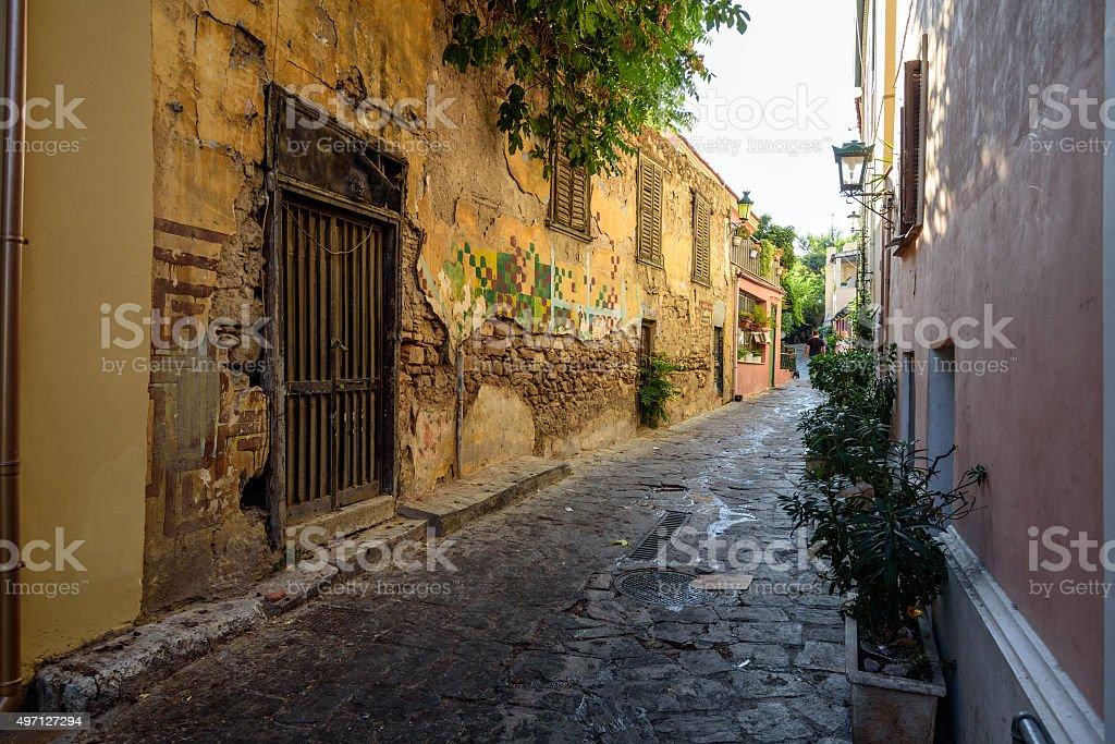 Old historical neighbourhood street of Athens stock photo