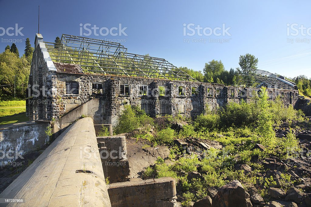 Old Historical Paper Pulp Factory in Chicoutimi royalty-free stock photo