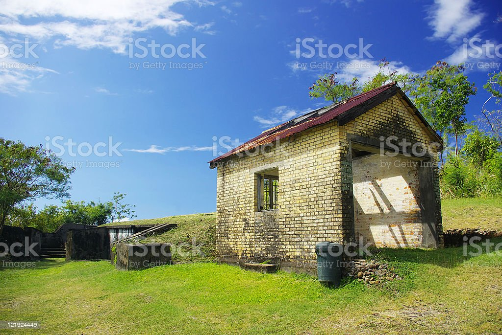 old historical ruins and fort set  against scenic backdrop stock photo