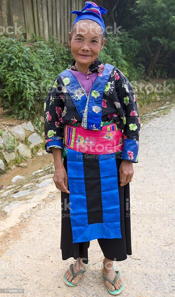 old hmong female, laos stock photo