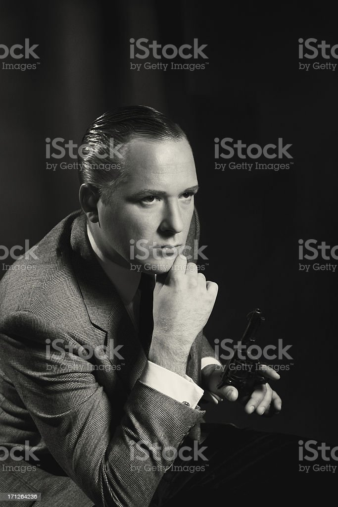Old Hollywood. Man with the gun royalty-free stock photo