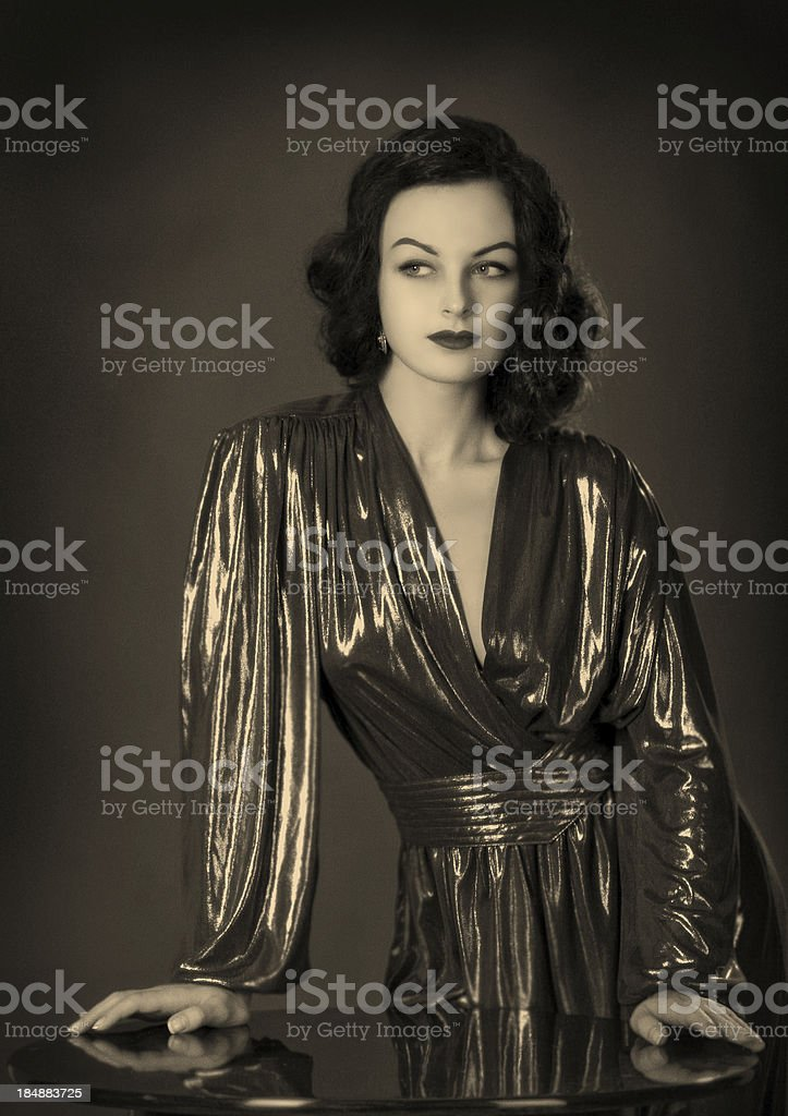 Old Hollywood.Beauty in film noir style. stock photo