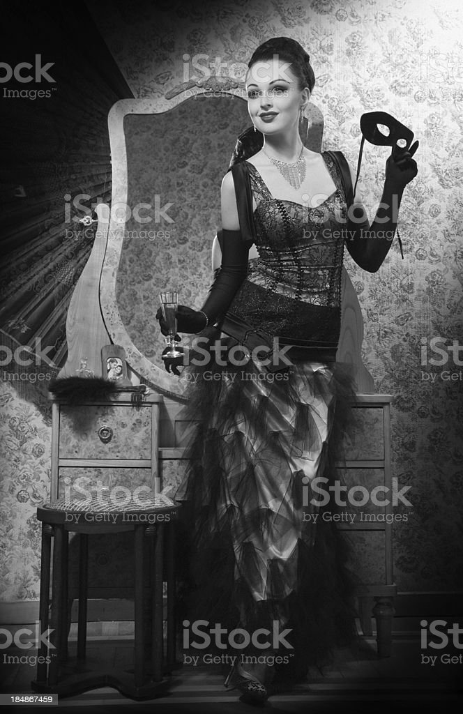 Old Hollywood.Glamour Beauty in Film Noir Style. stock photo