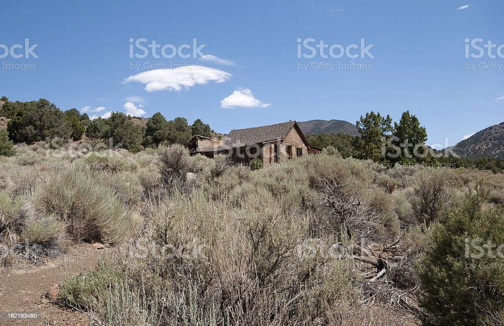 Old home in the sagebrush royalty-free stock photo